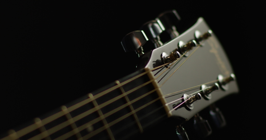 Acoustic guitar tuning close up