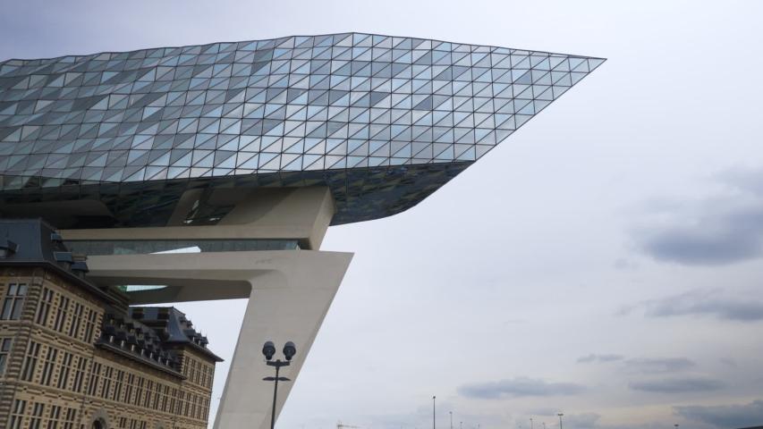 Antwerp, Belgium - 01 09 2018: Antwerp's Port Authority building designed by Zaha Hadid Architects
