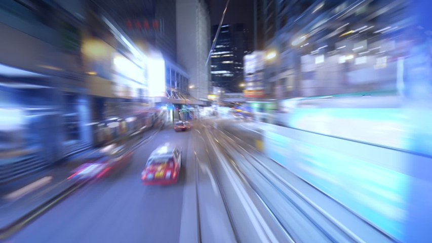 Pov night driving hyperlapse through Hong Kong business district. Drive pov modern highway timelapse/hyperlapse night. futuristic cityscape, city life | Shutterstock HD Video #1033351760