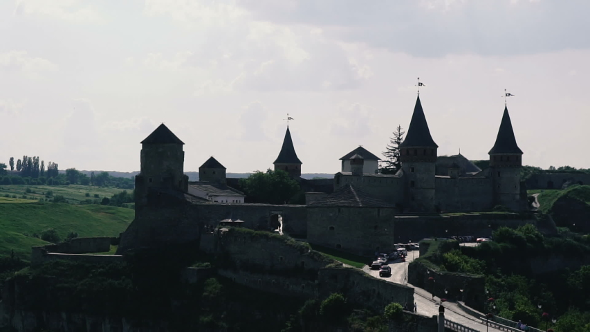 The old castle of Kamyanets-Podilsky is a medieval castle of the city of Kamyanets-Podilsky, one of the historical monuments of Ukraine.   Shutterstock HD Video #1033356203