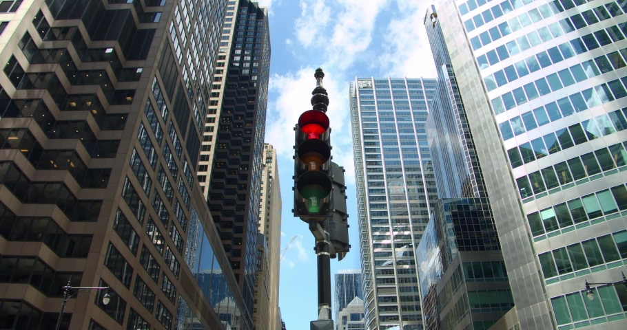 Chicago traffic light turns from red to green at downtown skyscrapers financial district intersection | Shutterstock HD Video #1033366607