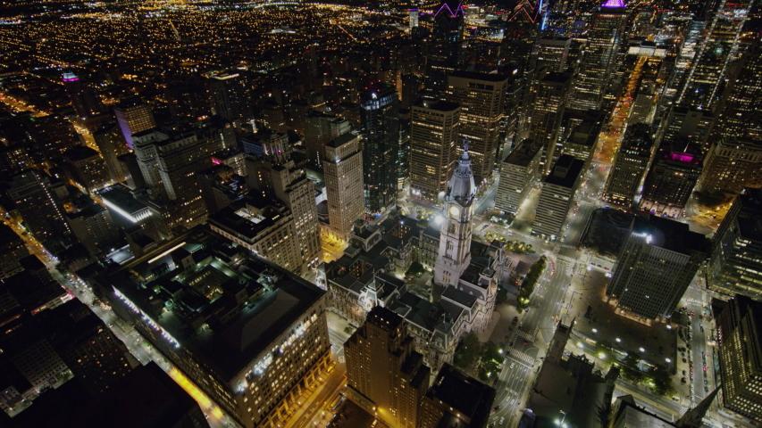 Philadelphia Pennsylvania Aerial v3 Nighttime birdseye panning view over downtown - October 2017 | Shutterstock HD Video #1033380080