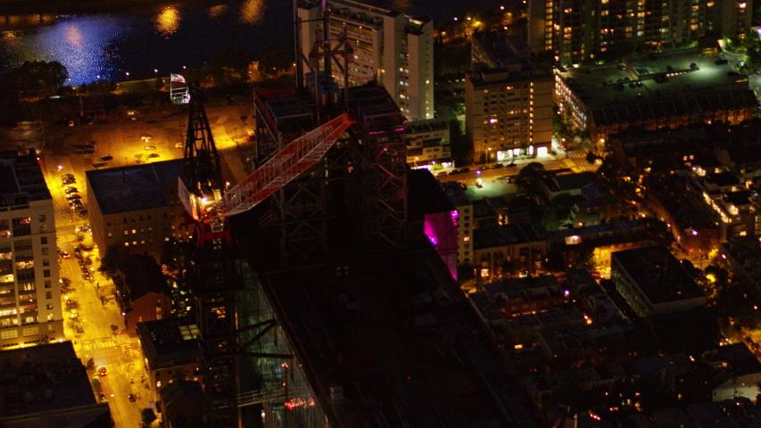 Philadelphia Pennsylvania Aerial v101 Panning birdseye detail of skyscraper construction at night- October 2017 | Shutterstock HD Video #1033380215