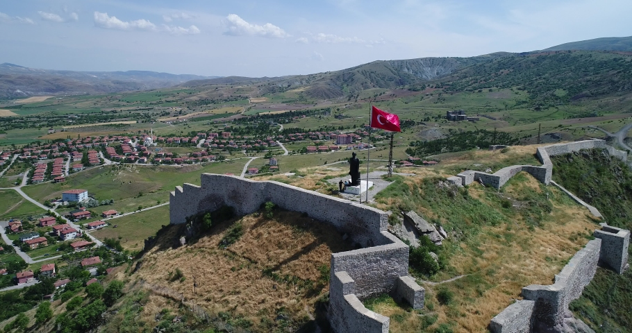 Aerial view of Ankara Kalecik district.Kalecik castle aerial video.Ankara--Turkey aerial video.4K UHD AER?AL V?DEO.