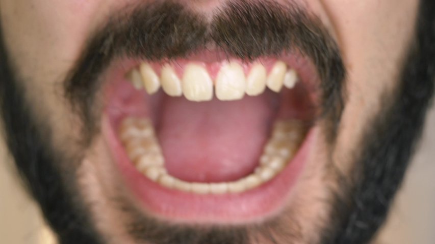 Man with a beard screaming closeup | Shutterstock HD Video #1033386857