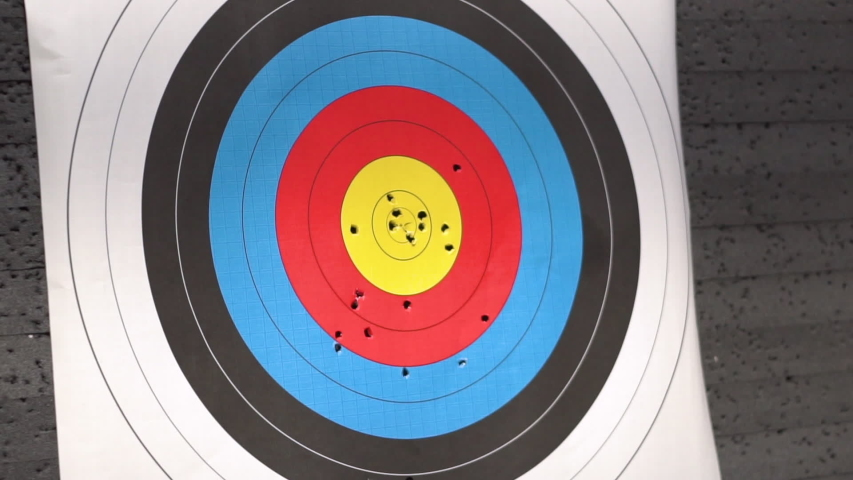 Target for archery shooting. Arrow hitting the target. Hit the goal, success and achievement concept .