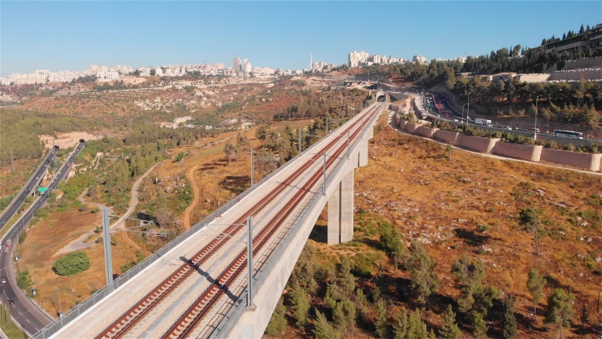 Jerusalem entrance railway bridge and traffic aerial Flight view over rusalem entrance railway bridge and traffic   | Shutterstock HD Video #1033402214