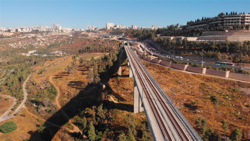 Jerusalem entrance railway bridge and traffic aerial Flight view over rusalem entrance railway bridge and traffic   | Shutterstock HD Video #1033402238