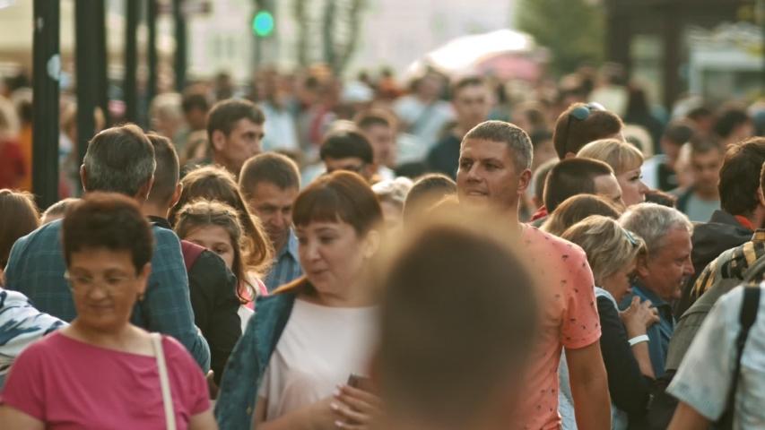 KAZAN, RUSSIA - 14 JULY 2019: Crowd of people walking on the streets | Shutterstock HD Video #1033403465