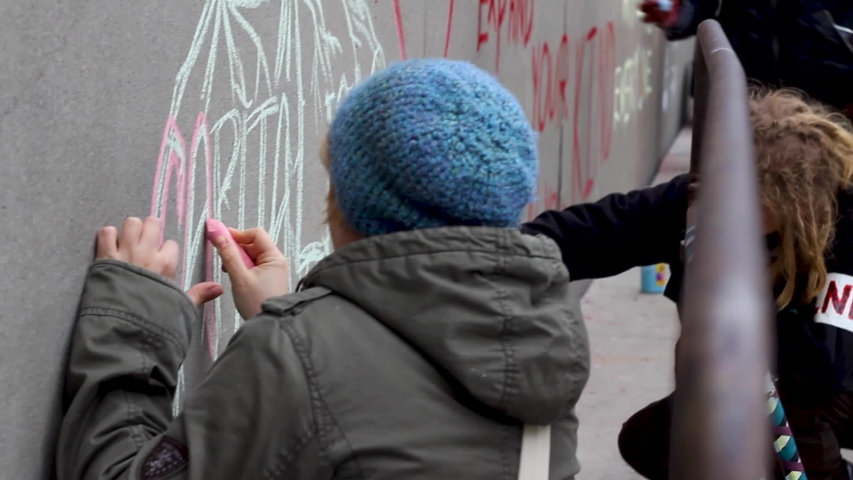 Toronto, Canada - 02 01 2019: Person Writes Message At Protest, Occupy Wallstreet Toronto