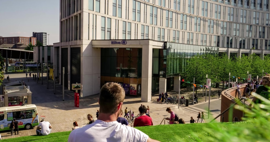 Liverpool One, Liverpool / England - July 6th 2018: Timelapse Of People Walking Past Green Steps In Liverpool One On A Hot Summer's Day | Shutterstock HD Video #1033421243