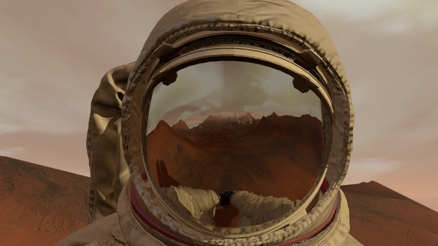 Colony on Mars. Astronaut sitting on Mars and admiring the scenery. Exploring Mission To Mars. Futuristic Colonization and Space Exploration Concept. Royalty-Free Stock Footage #1033425617