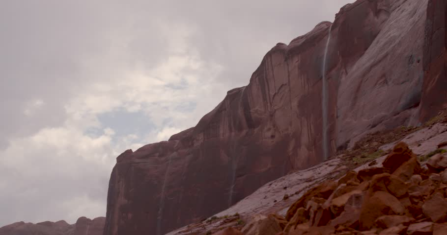 Rainstorm at Lake Powell/Glen Canyon National Recreation Area, big wall with waterfall | Shutterstock HD Video #10334357