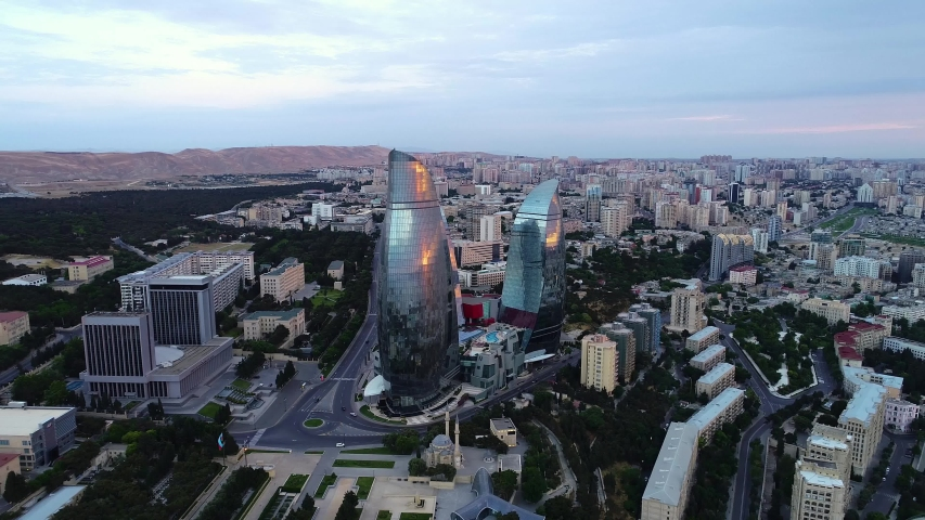 Baku / Azerbaijan - March 2019: Flame Towers - Famous land of Baku. Fairmont Hotel located here. Aerial View