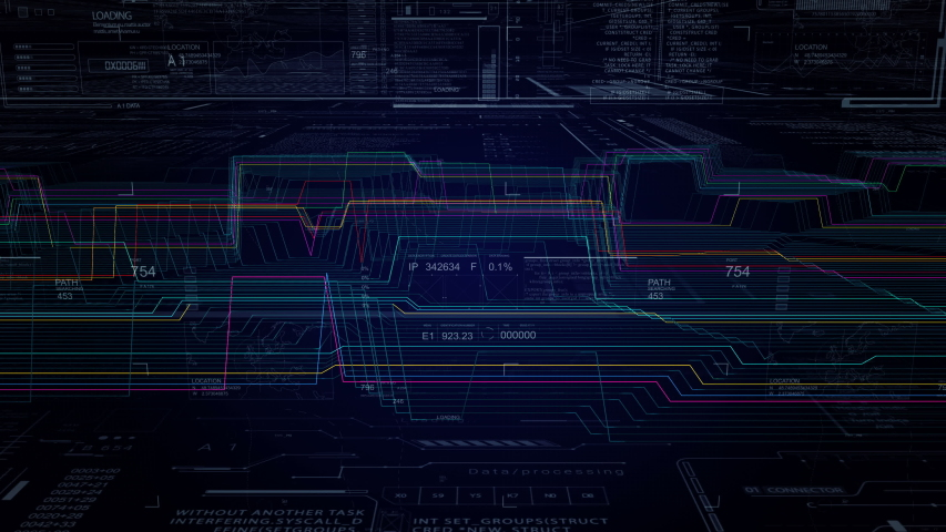 HUD technological intro.Futuristic technological Sci Fi user interface.Infographic heads up display.Histogram. Blue. | Shutterstock HD Video #1033463399