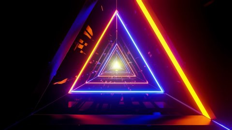 Triangular space tunnel with random bright neon in an infinite loop