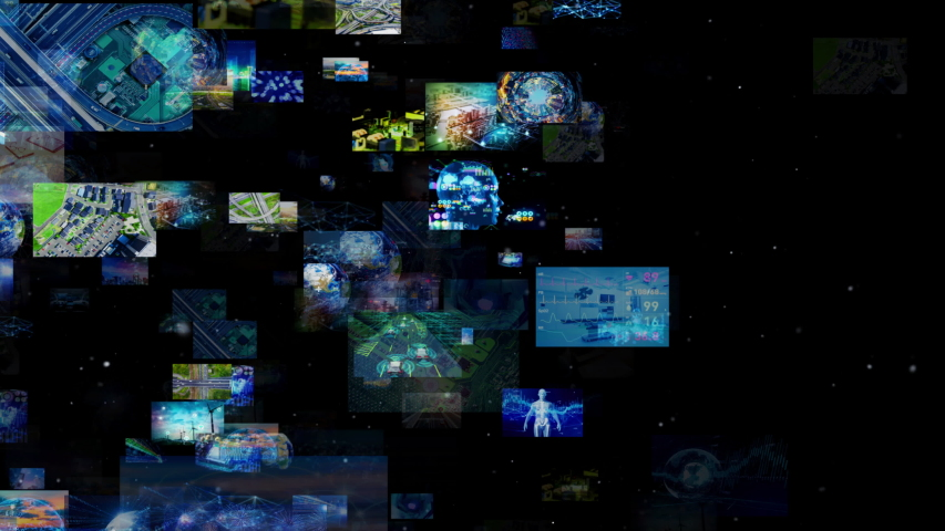 A lot of screens in cyberspace. Social media. Broadcasting. Streaming video. | Shutterstock HD Video #1033488608