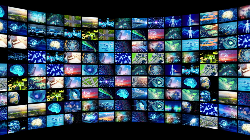 A lot of screens in cyberspace. Social media. Broadcasting. Streaming video. | Shutterstock HD Video #1033488620