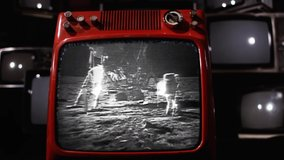 Apollo 11 Moon Landing in an Old Retro TV. Video with Audio. Elements of this video furnished by NASA.
