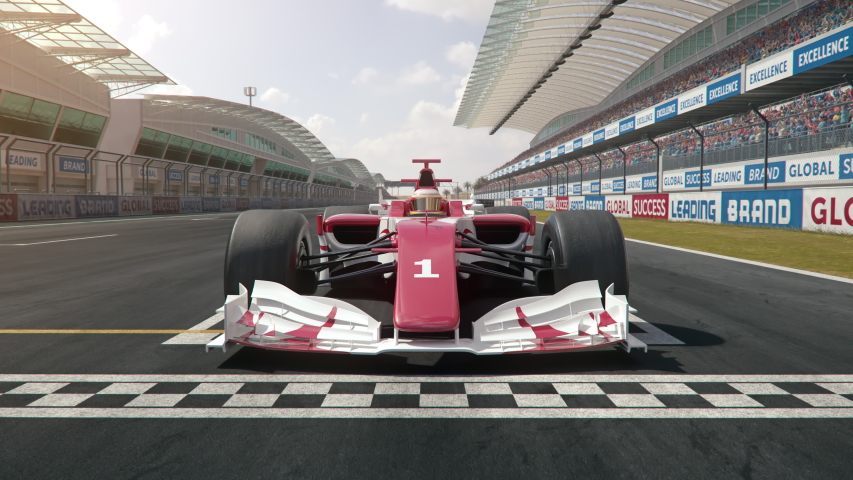 Camera zooms out from generic formula one race car starting from pole position - dynamic front view camera - realistic high quality 3d animation