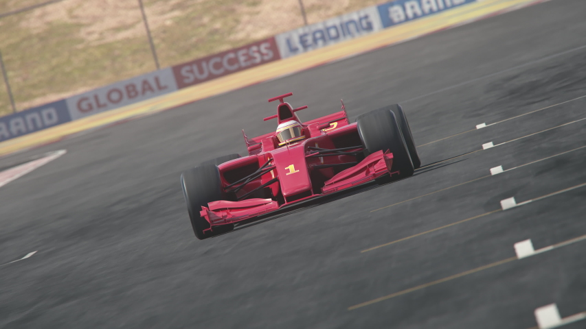 Generic formula one race car driving along the homestretch over the finish line - dynamic front view camera – red flash version – realistic high quality 3d animation