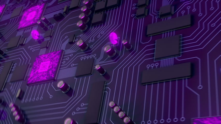 Purple printed circuit board with electrons html code flying into the future. The server processes the data. Loading data by the server/Load data from the server code html.  Royalty-Free Stock Footage #1033512998