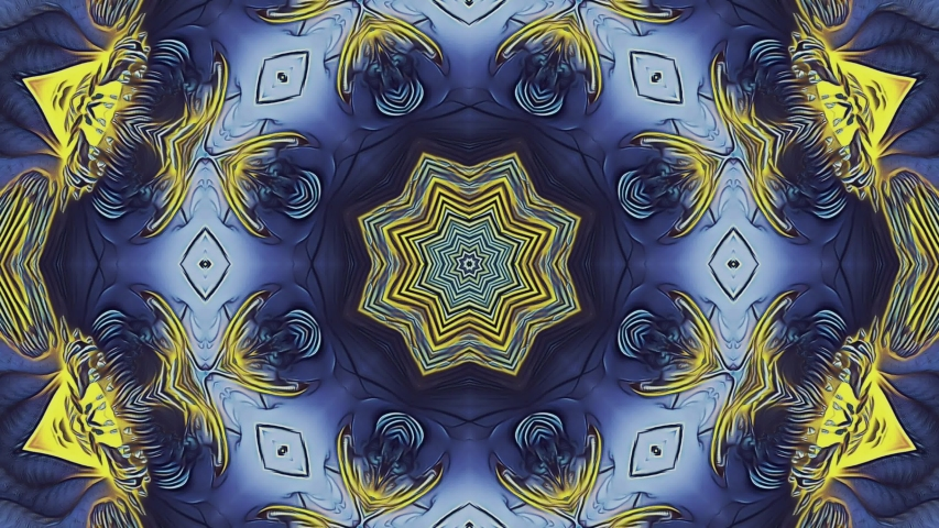 Abstract kaleidoscope pattern with violet, purple, blue, yellow and violet colors. Magic mandala. 4k abstract multicolored motion graphics background. Fractal animation. | Shutterstock HD Video #1033522289