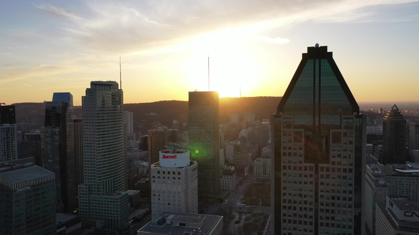 Drone.Peaceful Sunset Montreal Downton. Financial District. Building Skyline. Canada Architecture