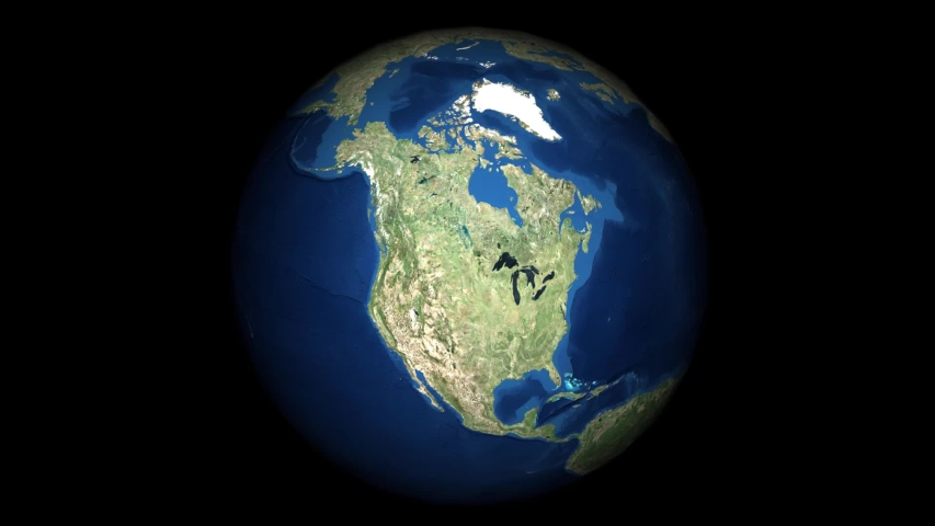 Starting at North America, the globe rotates until it gets to China.
