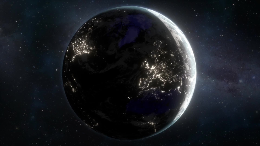 Lights Flicker Out Across Planet Earth - Europe Royalty-Free Stock Footage #1033547483