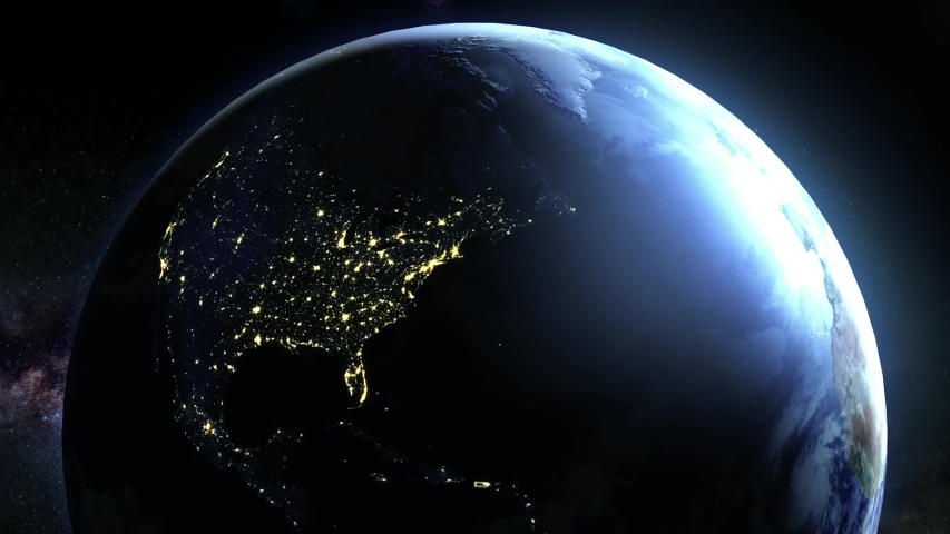 Lights Flicker Out Across Planet Earth - North America Royalty-Free Stock Footage #1033547516