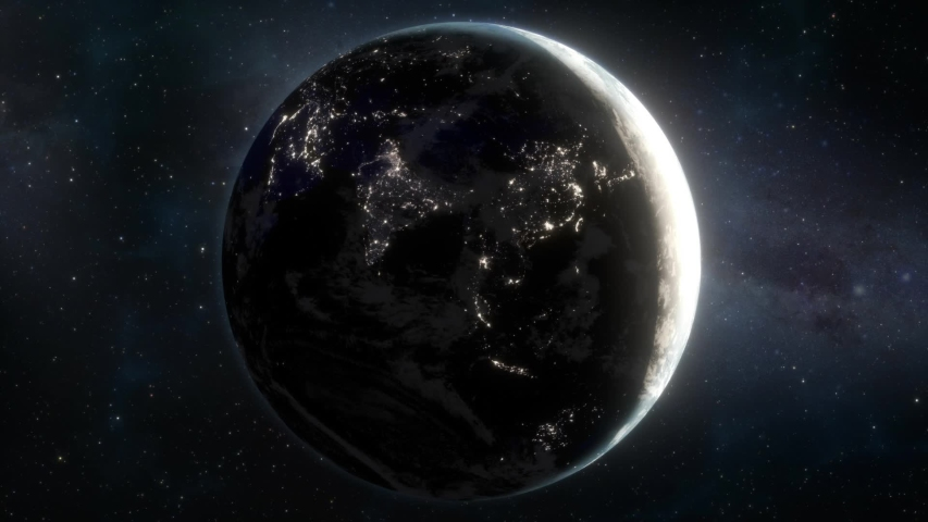 Lights Flicker Out Across Planet Earth - Asia Royalty-Free Stock Footage #1033547522