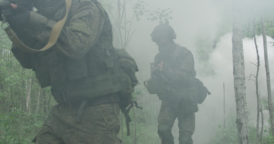 Special forces group, soldiers in camouflage with assault rifle walking through the forest, smokescreen, military action in the woods, patrol.