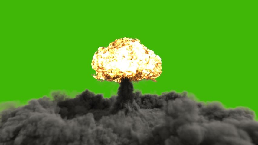 The explosion of a nuclear bomb. Realistic 3D animation of atomic bomb explosion with fire, smoke and mushroom cloud in front of a green screen.