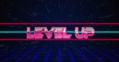 Animation of retro Level Up text glitching over blue and red lines against black background 4k