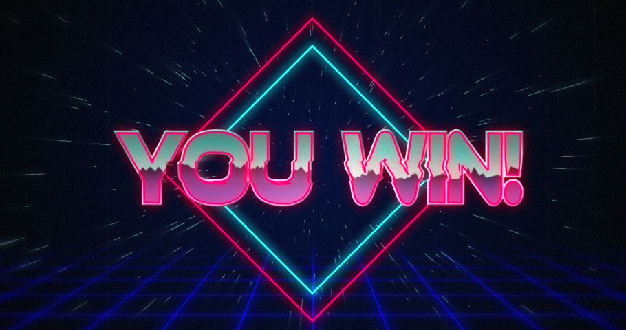 Animation of retro You Win text glitching over blue and red squares against black background 4k | Shutterstock HD Video #1033574429