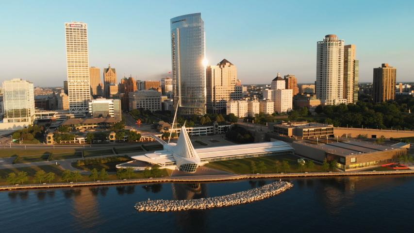 Milwaukee, Wisconsin/United States - June 17 2019: Aerial view of Milwaukee art museum. Milwaukee skyline. Sunny morning, summer