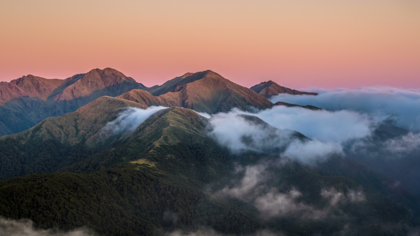 Colorful sunrise over mystic alpine mountains in New Zealand wild nature Time lapse | Shutterstock HD Video #1033595960