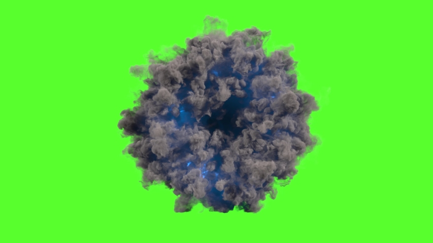 Abstract portal smoke ring with blue flash on green screen Royalty-Free Stock Footage #1033605692