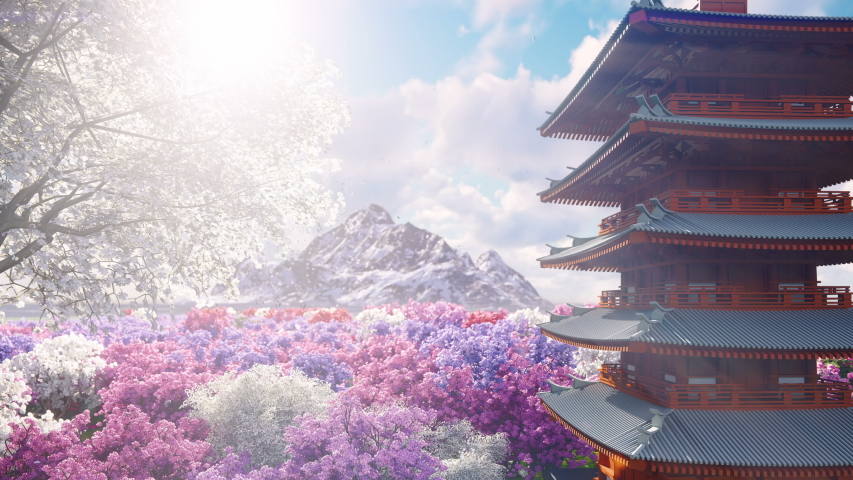 A sakura blooms in spring on the background of mountains, Japanese temple and fields of flowers. Travel and adventure, amazing spring landscape. Beautiful natural loop background. | Shutterstock HD Video #1033607249