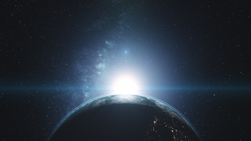 Rotating planet Earth with blue halo and white clouds orbits about bright Sun in outer space. 3d animation. Science and technology concept. 4K. Elements of this media furnished by NASA