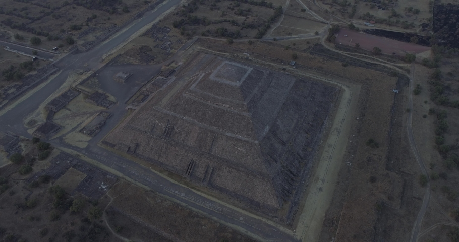 Aerial shot, Pyramids of Teotihuacan, Mexico at sunset | Shutterstock HD Video #1033625183