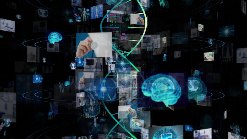 Medical technology concept. Screens in cyberspace.   Shutterstock HD Video #1033635098