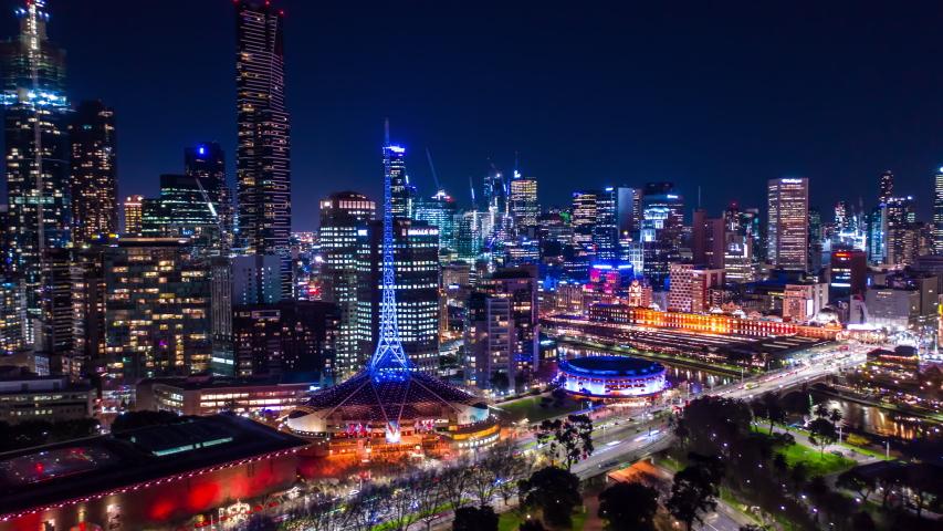 Aerial Hyperlapse of Night CBD at Flinders St in Melbourne, Australia