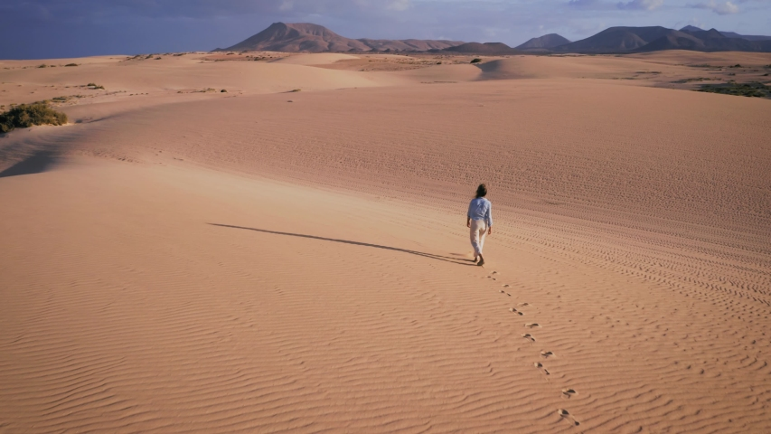 Cinematic aerial drone shot of woman walking through the desert alone. In the shot you can see her fresh footprints on sand and long shadow dropping on side. | Shutterstock HD Video #1033653866