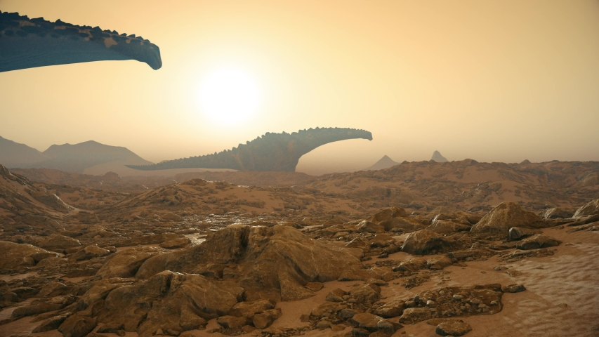 Titanosaur Jurassic World Dinosaurs Background Sun 3D Rendering Animation 4K Royalty-Free Stock Footage #1033663808