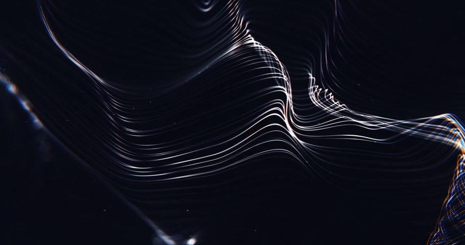 Abstract Red Line Particles Wave Background . 4K And Loop Line Particles Background.