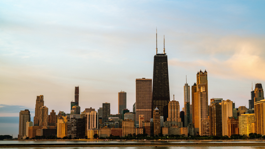 Time Lapse Sunrise over the Chicago Skyline Lakefront