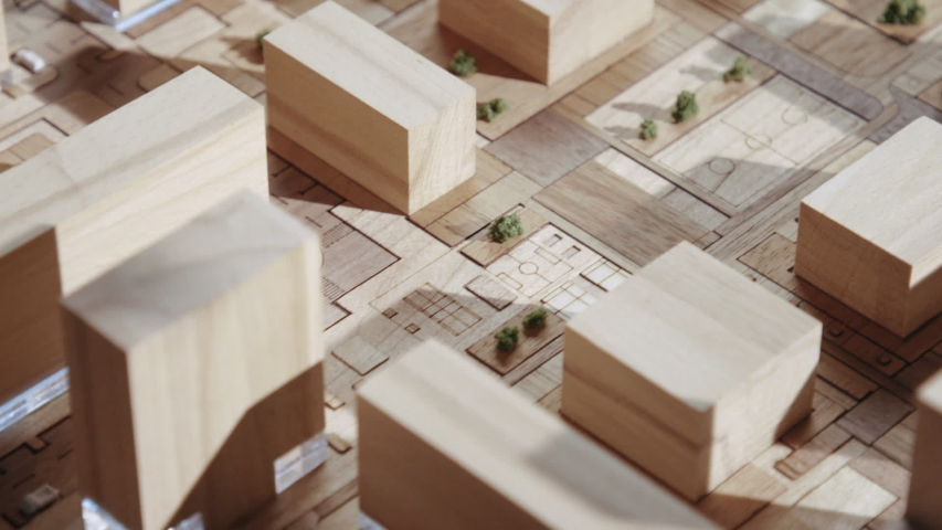 Panorama on Projection Residential Quarter with Detailed Planning from Wood Objects. Top view on Scheme of Courtyard with Children's and Sports Place and Rooftops. Handmade Form of a Green Area Town Royalty-Free Stock Footage #1033772855