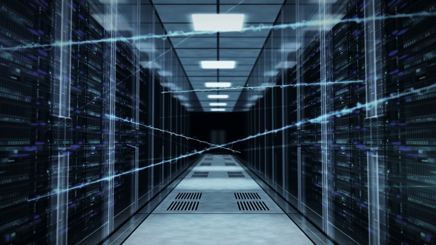 Flight through rack servers in computer data center with neural network connection. Seamless and loopable concept of supercomputer, artificial intelligence and deep learning. | Shutterstock HD Video #1033773452